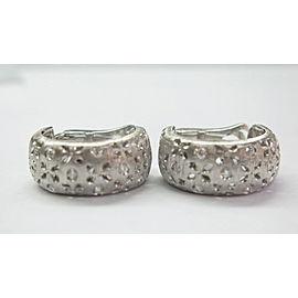 Roberto Coin 18KT Granada Diamond White Gold Huggie Earrings .50CT