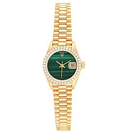 Rolex President Datejust 26 Yellow Gold Malachite Diamond Watch 69138