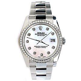 Rolex Datejust 36MM Steel Watch/Custom Diamond Bezel/White MOP Dial 116200