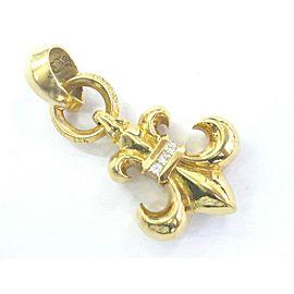Chrome Hearts 22k Gold Boy Scout Fleur 6 Diamond Pendant .30Ct