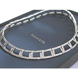 "Tiffany & Co Platinum Open Square Diamond Necklace 17"" 6.13Ct W/RECEIPT"