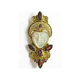 Sajen 18Kt Mother Of Pearl & Garnet Lady Cleopatra Style Pin / Brooch / Pendant