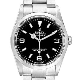 Rolex Explorer I 36mm Rehault Engraved Bezel Steel Mens Watch 114270