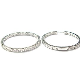 18Kt Inside Out Diamond Hoop Earrings White Gold 1.70CT 1""