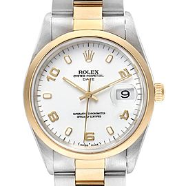 Rolex Date Steel Yellow Gold White Dial Mens Watch 15203 Box