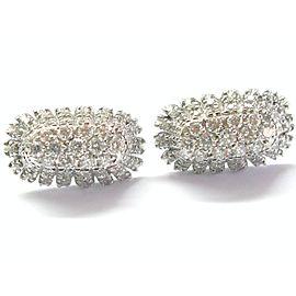 """Long Huggie Natural Diamond Solid White Gold Earrings 2.02Ct 18Kt 1"""" E-VVS2"""