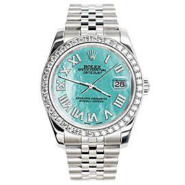 Rolex Datejust 116200 36mm 2.0ct Diamond Bezel/Aquamarine Roman Dial Steel Watch