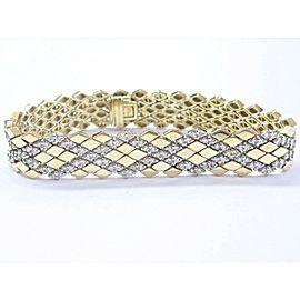 "18Kt Round Cut Diamond Yellow Gold Pattern Tennis Bracelet 7"" 10.6mm 4.40Ct"