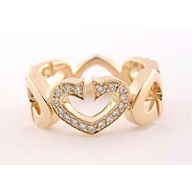 Cartier C Heart of Cartier Diamond Ring Rose Gold Sz 50