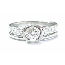 Platinum Round Cut Diamond Bezel Set Solitaire W Accents .65CT