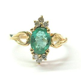 Green Emerald & Diamond Ring