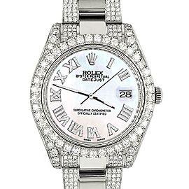 Rolex Datejust II 41mm Diamond Bezel/Lugs/Bracelet/White Pearl Roman Dial Watch