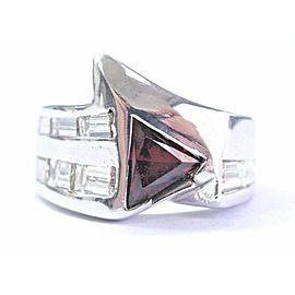 Natural Trillion Cut Garnet Diamond White Gold Jewelry Ring 2.70Ct 18Kt Sizeable