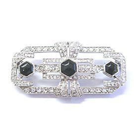 """Platinum Vintage Old Mine Cut Diamond Onyx Pin / Brooch 2"""" 3.25Ct"""