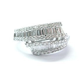 Fine Round & Baguette Diamond ByPass White Gold Jewelry Ring 14Kt 1.86Ct