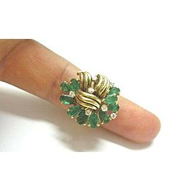 Green Emerald & Diamond Cluster Ring 18Kt Solid Yellow Gold 3.70Ct SIZEABLE