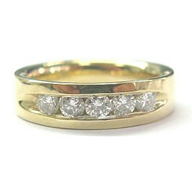Natural Round Diamond Channel Set Solid Yellow Gold Band Ring 14Kt .75Ct 5-Stone