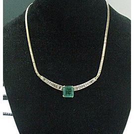 NATURAL Colombian Green Emerald & Diamond SOLID YG Jewelry Necklace 11.41Ct GIA