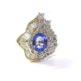 18Kt NATURAL Gem Tanzanite & Multi Shape Diamond Yellow Gold Jewelry Ring 5.82Ct