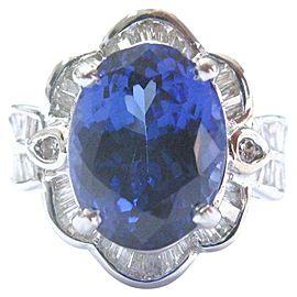 Oval Tanzanite & Diamond Ring Anniversary Solid White Gold 18Kt 8.10Ct AAAA/VS