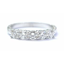 Dekara Platinum Round Cut Diamond 5-Stone Anniversary Ring .65Ct
