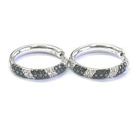 Fine NATURAL Black & White Diamond White Gold Hoop Earrings 2.70Ct