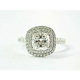 Halo Cushion Cut Diamond Engagement Ring Platinum E-VS1 1.00Ct+.70Ct