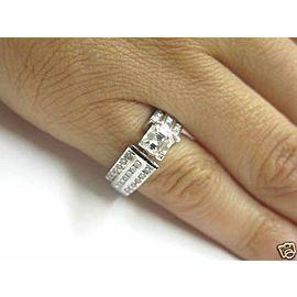 Fine Asscher Cut Diamond Engagement White Gold Ring 14KT 1.38Ct