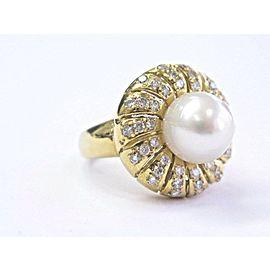 18Kt Pearl Diamond Yellow Gold Jewelry Anniversary Ring 10.3mm .77Ct