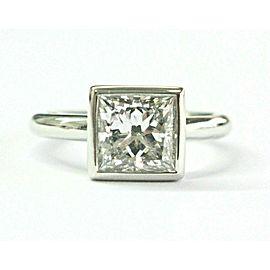"Tiffany & Co Princess Cut Solitaire ""Bezet"" Ring Platinum 950 2.10Ct F-VS1"
