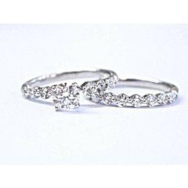 Fine Round Cut Diamond White Gold 2-Ring Wedding Set 1.21Ct F-VS2