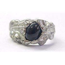 Vintage Platinum Gem Blue Sapphire Diamond Solitaire W Accents Ring 1.50CT