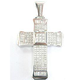 18Kt NATURAL Princess & Baguette Diamond WG Religious Cross Pendant 14.03Ct