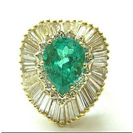 Colombian Beryl Emerald & Diamond Ballerina Ring 18Kt Yellow Gold 5.89Ct GIA
