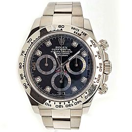 Rolex Daytona 40mm White Gold Factory Black Diamond Dial 116509 Watch Box Papers