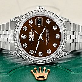 Rolex Datejust 36mm Steel Watch 2.85ct Diamond Bezel/Pave Case/Chocolate Dial