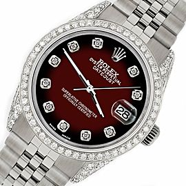 Rolex Datejust 36mm Watch 2.85ct Diamond Bezel/Pave Case/Maroon Vignette Dial