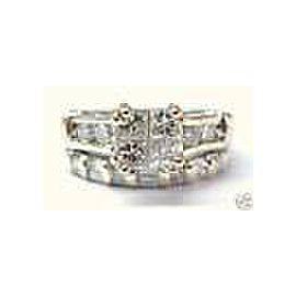 Fine Platinum Princess Cut Diamond Wedding Set Ring 1.30CT