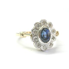 Blue Sapphire & Diamond Ring Two-Tone 14Kt 1.62Ct SIZEABLE