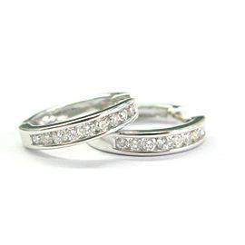 """Diamond Hoop Earrings 14KT White Gold .74Ct 3/4"""""""