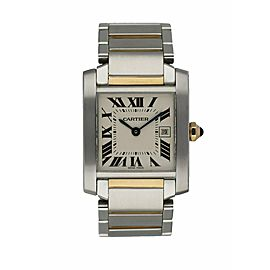 Cartier Tank Francaise 2465 Ladies Midsize Two Tone Watch Box Papers