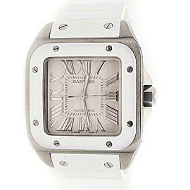 Cartier Santos 100 Midsize 33mm White Roman Dial/Rubber Strap/Steel Watch