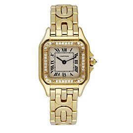 Cartier Panthere 1280 18K Yellow Gold Diamond Bezel Art Deco Ladies Watch