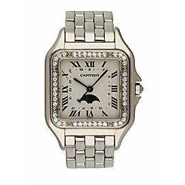 Cartier Panthere 18K White Gold Moon Phase Diamond Bezel Ladies Watch