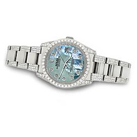 Rolex Datejust 36mm 5.9ct Diamond Bezel/Lugs/Bracelet/Tahitian Blue
