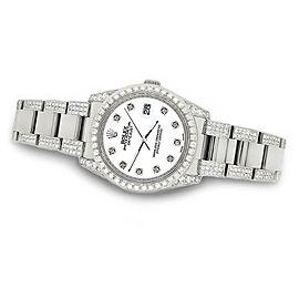 Rolex Datejust 36mm 5.9ct Diamond Bezel/Lugs/Bracelet/White Dial Watch/BoxPapers