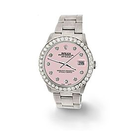 Rolex Datejust Midsize 31mm 1.52ct Bezel/Orchid Pink Dial Steel Oyster Watch