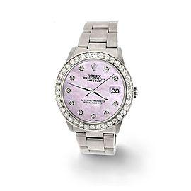 Rolex Datejust Midsize 31mm 1.52ct Bezel/Pink Pearl Dial Steel Oyster Watch