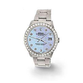 Rolex Datejust Midsize 31mm 1.52ct Bezel/Purple MOP Dial Steel Oyster Watch