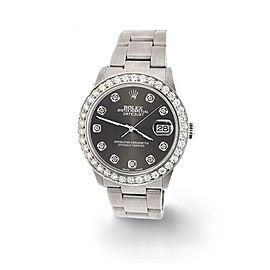 Rolex Datejust Midsize 31mm 1.52ct Bezel/Rhodium Grey Dial Steel Oyster Watch